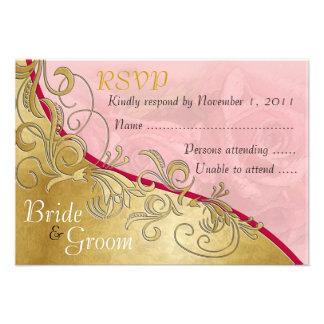 Pink Roses & Gold - Bride & Groom RSVP Card