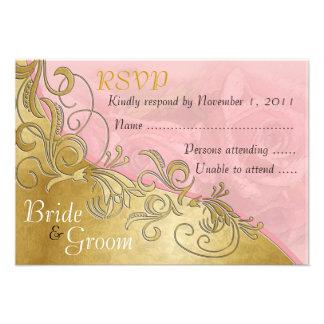 Pink Roses & Gold - Bride & Groom RSVP Card - 2