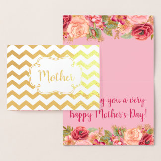 Pink Roses | Gold Foil Happy Mother's Day Foil Card