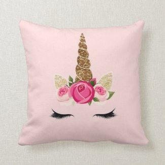 Pink Roses Gold Glitter Unicorn Horn Throw Pillow