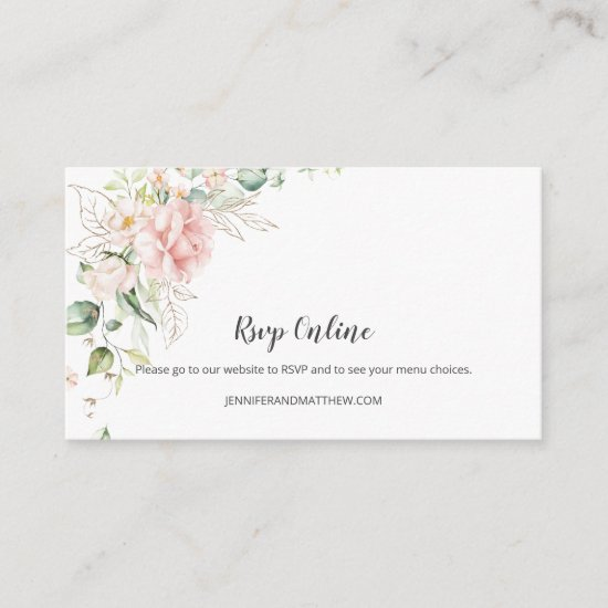 Pink Roses Gold Greenery Floral RSVP Online | Enclosure Card