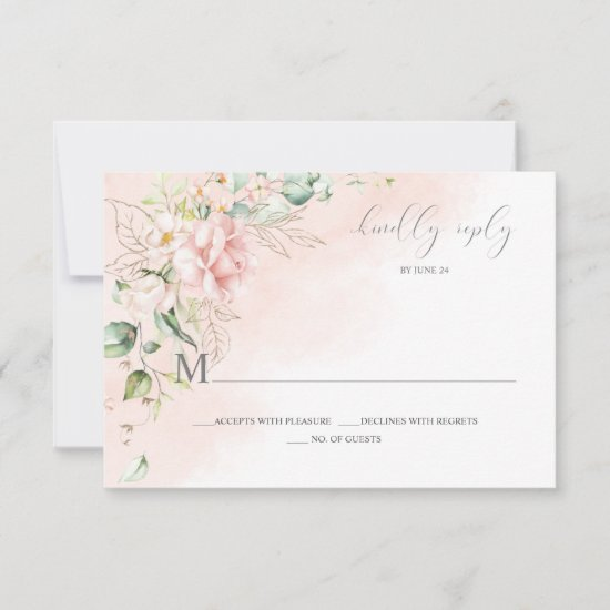 Pink Roses Gold Leaves Greenery RSVP
