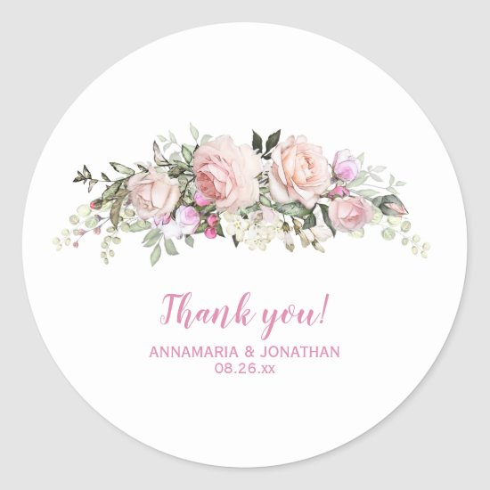 Pink Roses & Greenery Wedding Thank You Classic Round Sticker