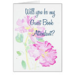 Pink Roses Guest Book Attendant Request Card