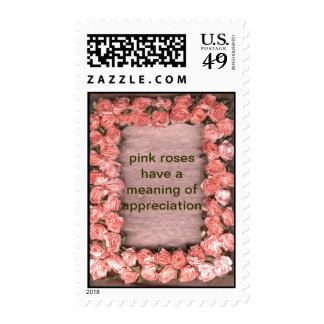 Pink Roses Have A Meaning Of Appreciation Ribbon R Stamp