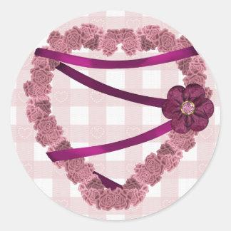 Pink Roses Heart Wreath Round Sticker