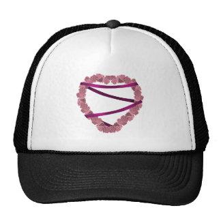 Pink Roses Heart Wreath Trucker Hat
