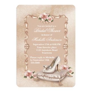 Pink Roses High Heel Shoe Bridal Shower Card