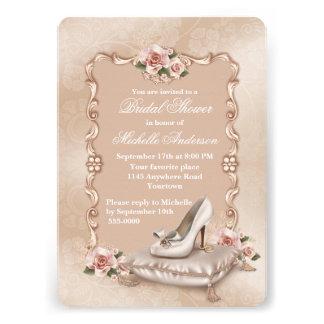 Pink Roses High Heel Shoe Bridal Shower Invitations