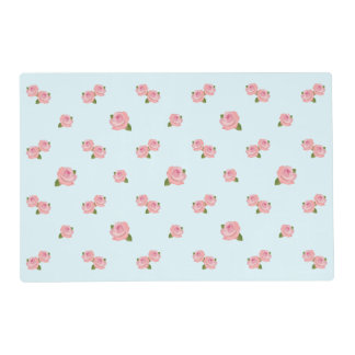 Pink Roses Horizontal Pattern on Light Blue Placemat