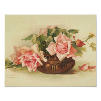 Pink Roses in a Bowl by Catherine Klein Poster
