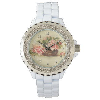 Pink Roses in a Bowl by Catherine Klein Wristwatch