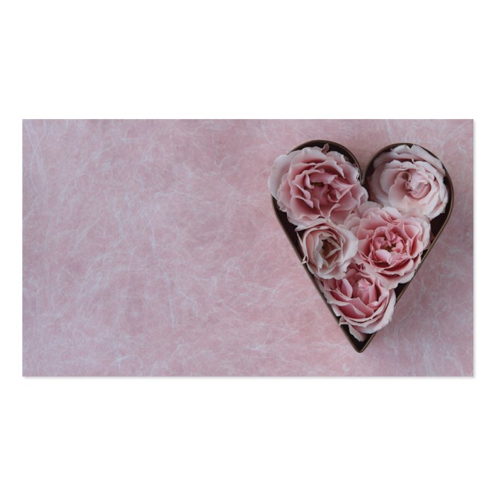 Pink roses in a heart shaped cookie cutter business card for Heart shaped business cards