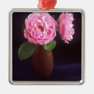 Pink Roses In A Vase Metal Ornament