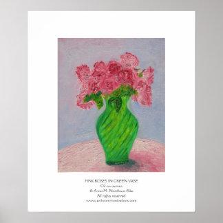 Pink Roses in Green Vase Poster