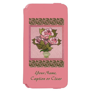 Pink Roses in Seashell Vase (Personalized) iPhone 6/6s Wallet Case