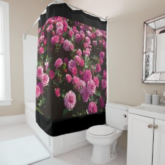 Pink roses in the garden are blooming shower curtain