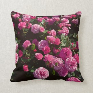 Pink roses in the garden are blooming throw pillow