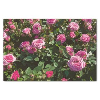 Pink roses in the garden tissue paper