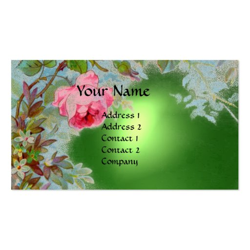 PINK ROSES & JASMINES MONOGRAM GEM STONE green Business Card