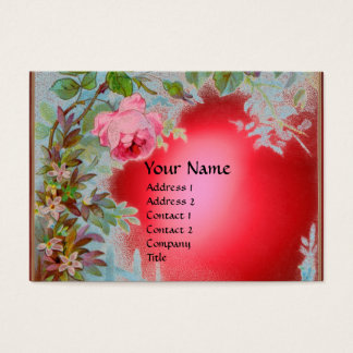 PINK ROSES & JASMINES MONOGRAM GEM STONE red Business Card