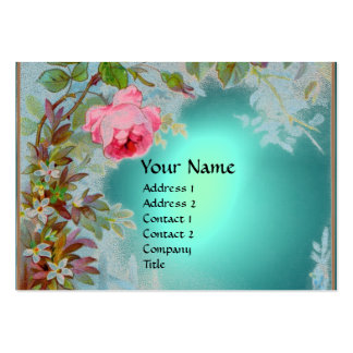PINK ROSES JASMINES MONOGRAM GEM STONE teal blue Business Card Templates