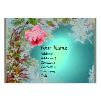 PINK ROSES & JASMINES MONOGRAM GEM STONE teal blue Large Business Card