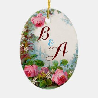 PINK ROSES & JASMINES MONOGRAM  Wedding Souvenir Ceramic Ornament