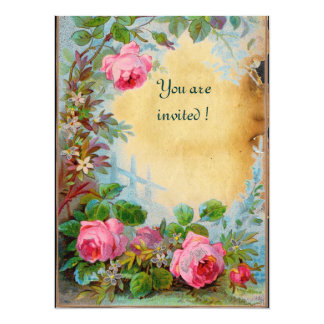 PINK ROSES & JASMINES parchment 5.5x7.5 Paper Invitation Card