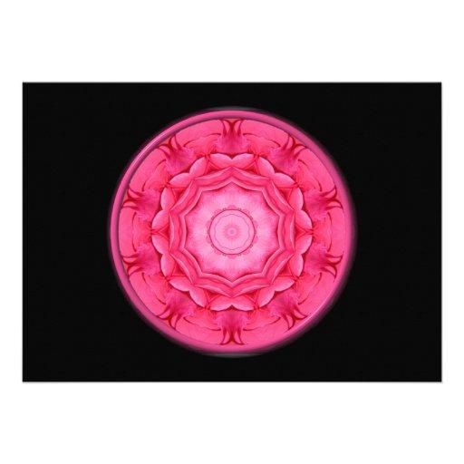 Pink Roses Kaleidoscope Custom Invites