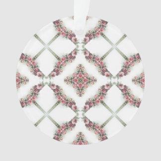 Pink roses kaleidoscope pattern ornament