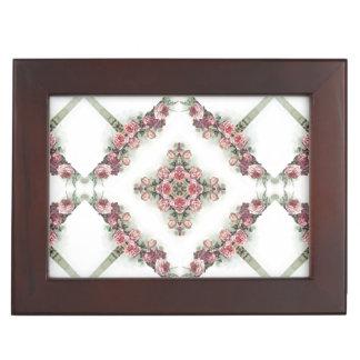 Pink roses kaleidoscope pattern keepsake boxes