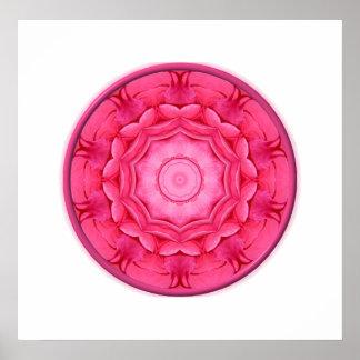 Pink Roses Kaleidoscope Poster