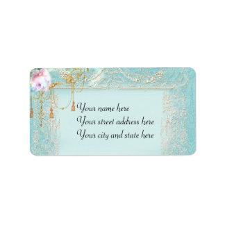 Pink Roses Lace Custom Address Labels