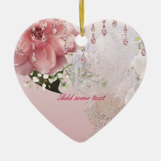 Pink Roses & Lace Christmas Tree Ornament