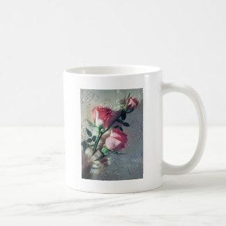 Pink roses lace wedding love coffee mug