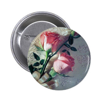 Pink roses lace wedding love pinback button