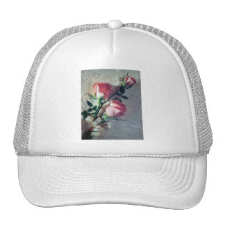Pink roses lace wedding love trucker hat