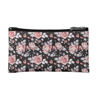 Pink roses makeup bag