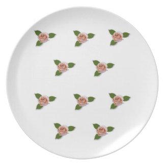 Pink Roses Melamine Plate