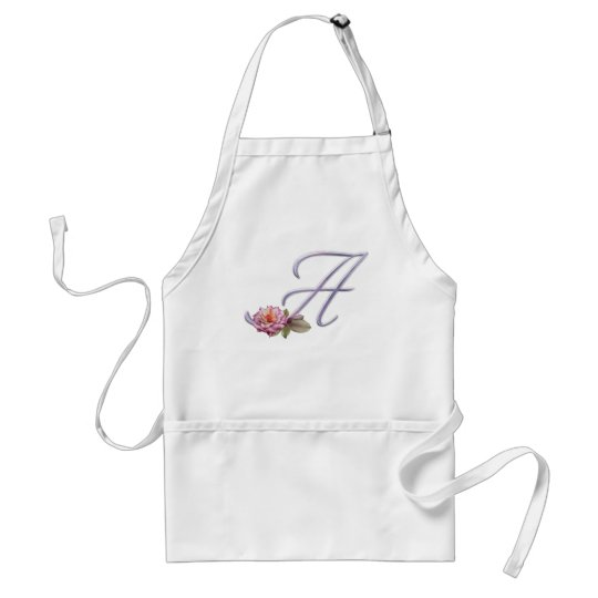 Pink Roses Monogram A Adult Apron