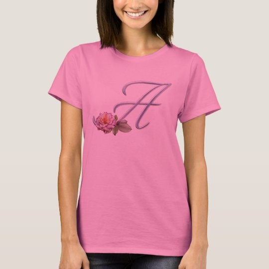 Pink Roses Monogram A T-Shirt
