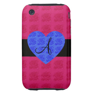 Pink roses monogram blue roses iPhone 3 tough covers