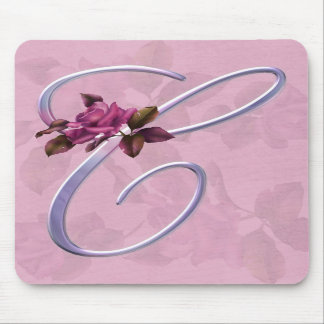 Pink Roses Monogram C Mouse Pads