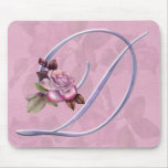 Pink Roses Monogram D Mouse Pad