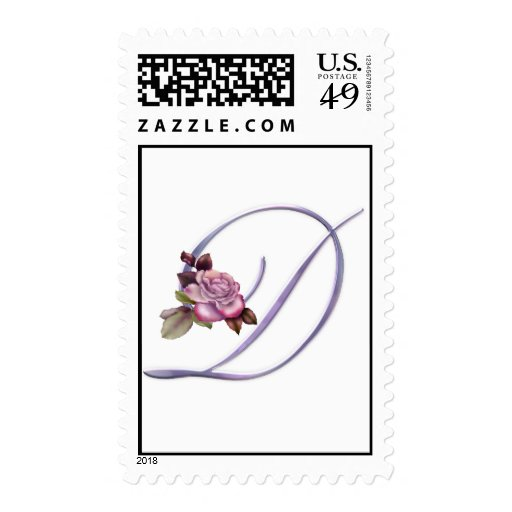 Pink Roses Monogram D Postage Stamps