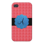 Pink roses monogram iPhone 4 cover