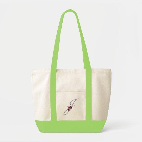 Pink Roses Monogram J Tote Bag