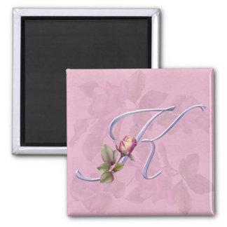 Pink Roses Monogram K 2 Inch Square Magnet