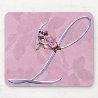Pink Roses Monogram L Mouse Pad